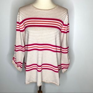 Investments Tan Pink Stripe Pullover Sweater Sz XL